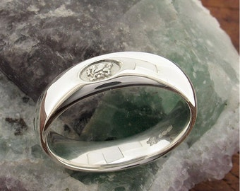 Wedding Ring, Welsh Dragon handmade range in white gold 6mm wide.