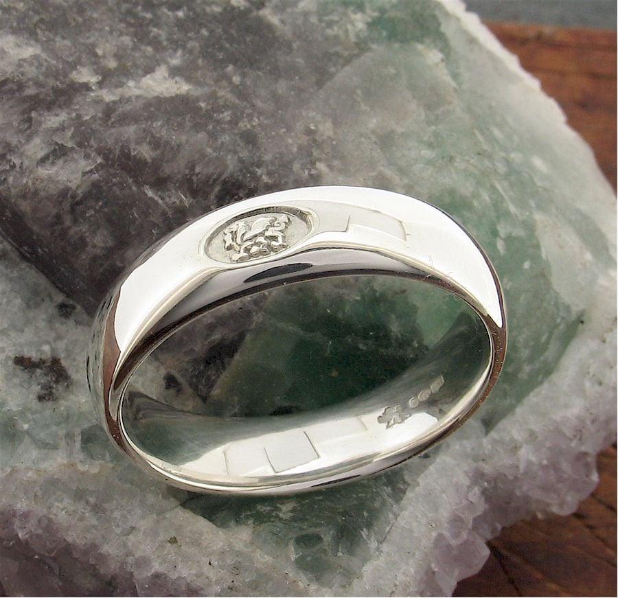 Wedding Ring Welsh Dragon Handmade Range In White Gold 6mm