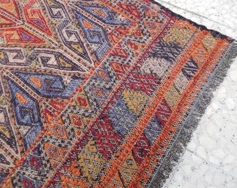 Vintage Authentic NAVAJO Rug,Woven Native American Interior Kilim Rug,Textile Weaving,Handcrafted Southwest Wool Rug 6'2''x7'8''/ 187x233cm
