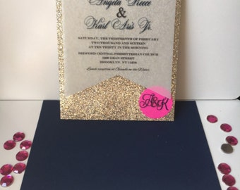 Handmade Glitz & Glam Wedding Invitation