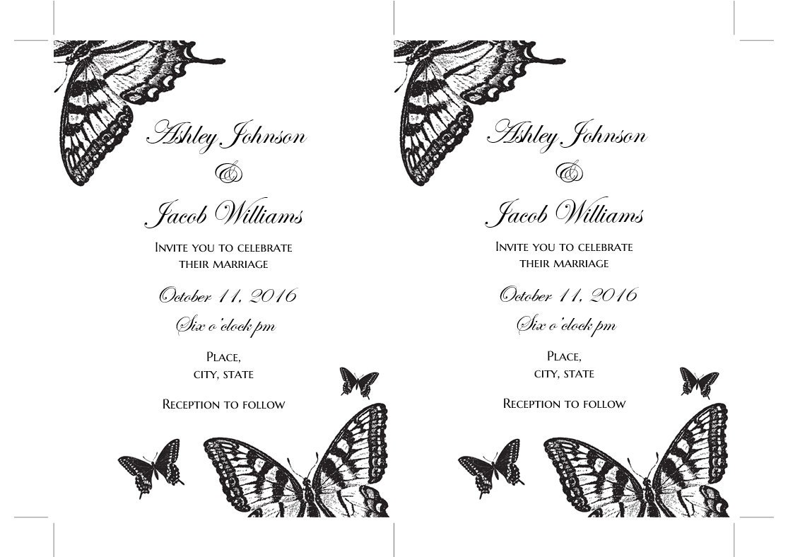 Butterfly wedding invitation printable Black and white Wedding ...