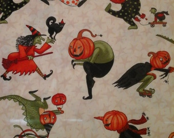 Halloween Fabric Pumpkins 2 Yards Cotton Sale