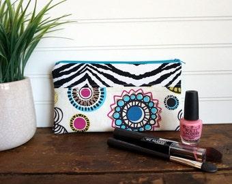Make-up or Pencil Bag, Rectangle Zipper Bag, Aqua, Black, Pink Spirograph and Black Zebra