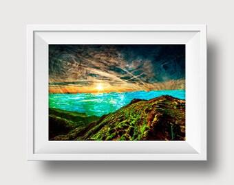 Ocean Sunset Digital Art Print 4x6inch