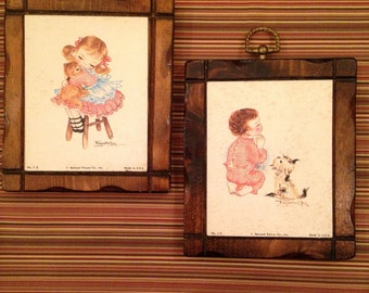2 Vintage 1970s Childrens Room Nursery Illustration Wooden Wall Plaques by Bernard Pucture Co