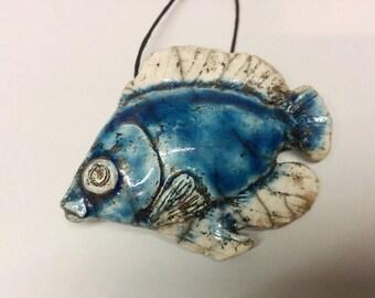 Fish Pendant - Handmade Jewelry - Ceramic Fish Jewelry - Tang Fish Pendant - Reef Fish Pendant - Tropical Fish Pendant - Reef Fish Necklace