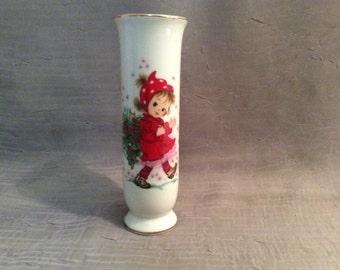 "Lefton Porcelain ""Christmas Christy"" Bud Vase 438P Japan, Lefton Hand Painted Christmas Bud Vase"