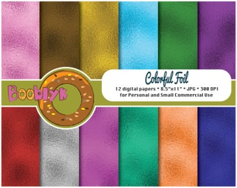 Colorful Foil Scrapbook Paper Pack - Set of 12 Digital Papers - Instant Download