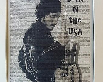 Bruce Springsteen Wall Art Print No.252, bruce springsteen poster, bruce springsteen art, e street band, girlfriend gift, boyfriend gift