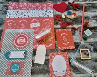 Christmas Mini Scrapbooking pack/journal/planner/craft kit/30pieces/junk journal/inspiration kit