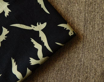 1 yard of Bird Print Fabric, Indian Cotton Fabric, Screen Printed Fabric, Black Cotton Fabric