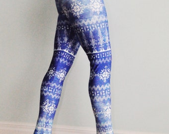 Tribal Leggings, Moroccan Print, Cobalt Blue leggings, Eco-Friendly leggings, Yoga Leggings, Printed leggings, Activewear, Yoga pants
