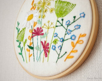Wild flowers - Hand stitched embroidery hoop
