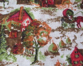 Mid Century Colonial Fabric, Upholstery Fabric, Brown, Red, Orange, Beige