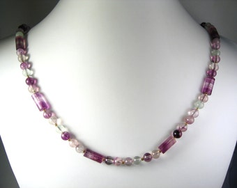 Fluorite Necklace Gold 24""