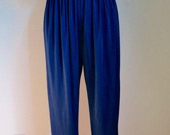 Vintage Directives Navy Satin Disco Sequin Jumpsuit sz S