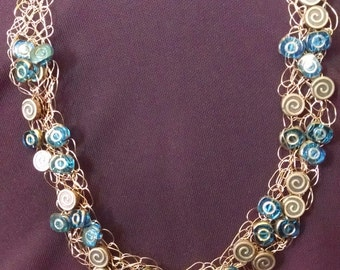 Crochet copper necklace