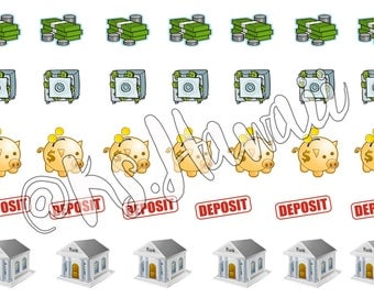 Bank, Money, Deposit Planner Stickers