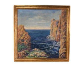 """1930's Oil Painting """"Glistening Rocks England"""" by Helena Saxby"""
