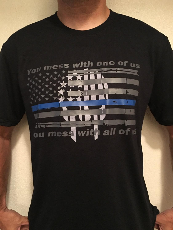 Thin blue line tshirts police t shirts leo shirts custom for Single order custom t shirts