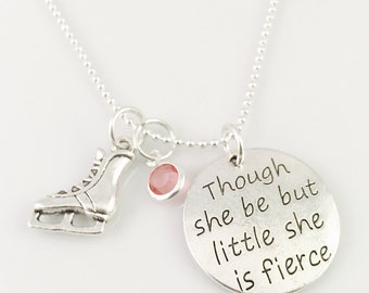 Personalized ice skater necklace, girls necklace, girls birthday gift,  ice skating charm, birthstone charm, She be fierce