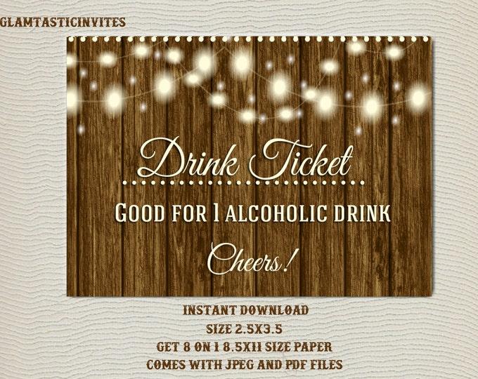 Drink Ticket, Rustic Drink ticket, Alcoholic Drink Ticket, Wedding Drink Ticket, Rustic Invitation, Rustic Party, Wedding Bar Ticket, Drink