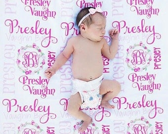 Baby Girl Blanket- Personalized Baby Blanket - Monogram Baby Blanket - Swaddle Receiving Blanket - Baby Shower Gift - Custom Blanket