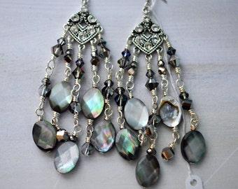 Mother of Pearl Chandelier Earrings
