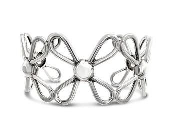 Silver Flower Bangle - Silver Bangle Bracelet - Womens Bracelet - Womens Gift - Bangle Silver - Cuff Bracelet Bangle