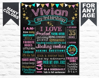 Printable Pink Gold Birthday chalkboard chalk board first second third (199)