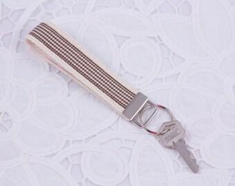 Brown Plaid Keychain, Wristlet, Key Fob
