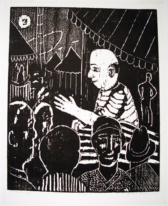 1951 Woodcut Print 'Midway' by Canadian Artist John Snow (1911-2004) 24/50