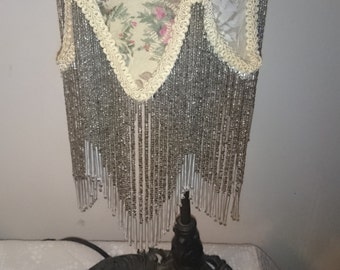 Vintage Victorian Style Lamp with Fringed Beads
