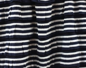 "1/2 yd 2"" Cascading Ruffle Fabric Navy & White/Nautical"