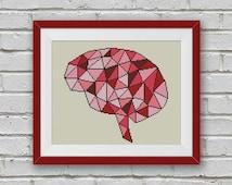 BOGO FREE! Geometric Brain Cross Stitch Pattern, Human Brain x-Stitch Chart, Human Anatomy Modern Decor, PDF Instant Download #025-15-1