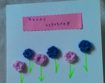 Handmade Birthday card crochet flowers