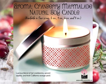 Cranberry Marmalade (No. 49) Soy Candle (Available in Four sizes 2 oz., 4 oz., 6 oz., 8 oz.)