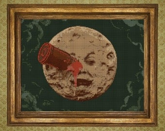 A Trip To The Moon - Georges Méliès Cross stitch pattern Pdf DOWNLOAD