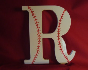 Initial--Baseball--Wall Letters--Nursery Letters--Baseball Letters--Wooden Letter