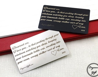 Custom Handwriting insert card,Personalized fathers gifts, Wallet card, signature card for boyfriend Mens Valentines Gift