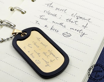 Custom Handwriting Necklace Dog Tag in Handwriting Jewelry - Memorial - Signature Jewelry,  Signature Necklace, Personalized Engraved