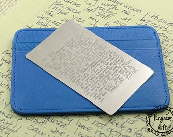 Personalized Custom Real Handwritten Your Handwriting Steel Wallet Insert Card Custom Autograph, Signuature, Your Kids Doodle