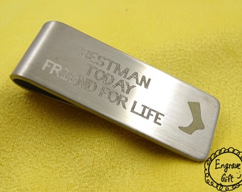 Personalised Custom Laser Engrave Brushed Thick Steel Money Clip in your Own Gift Ideas