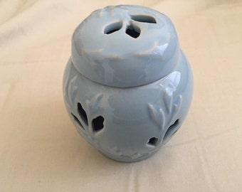 Vintage Baby Blue Ceramic Potpourri Holder