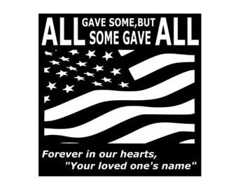 Personalized Fallen Soldier Memorial, In loving Memory. Patriotic, Veteran, Troops, Custom name sign, Metal Marker Military,