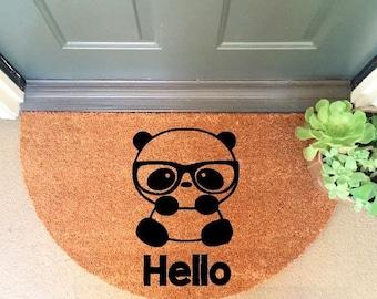 """Hello Nerd Panda Welcome 20""""x35"""" Half Moon Heavy Duty Coir Doormat / Welcome Mat"""