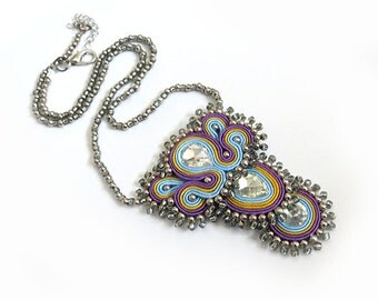 Statement necklace pastel colors necklace soutache necklace OOAK collier soutache retro necklace colorful jewelry blue purple