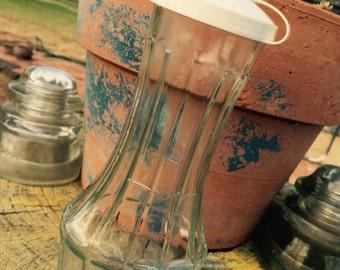 Vintage Good Seasons Ribbed Pressed Glass Bottle, Glass Cruet, Kitchen Décor, Gift