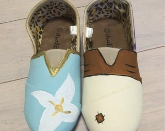 Aladdin& Jasmine inspired canvas painted shoes