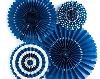 Navy blue paper Pinwheel Fans. Set of 4.  Navy blue rosettes. Navy party pinwheels.  Dark blue party decor. Navy blue pinwheel fan Backdrop.